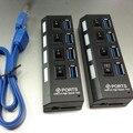 Nuevo USB 3.0 Hub 4 Puertos Súper Velocidad de 5 Gbps de 4 Puertos USB 3.0 Hub Con interruptor de encendido/apagado Para Windows Mac OS Linux PC Portátil