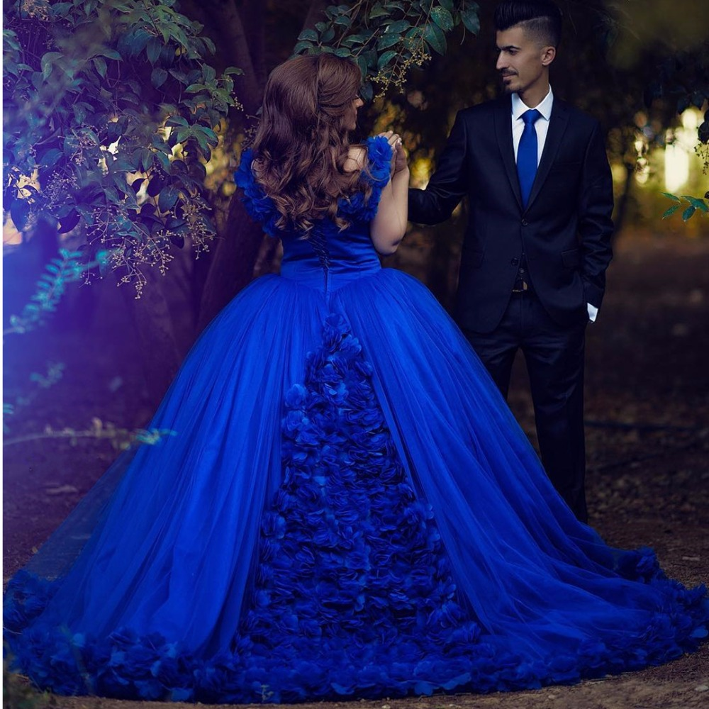 Royal Blue Ball Gown Wedding Dresses 2017 Flower Wedding