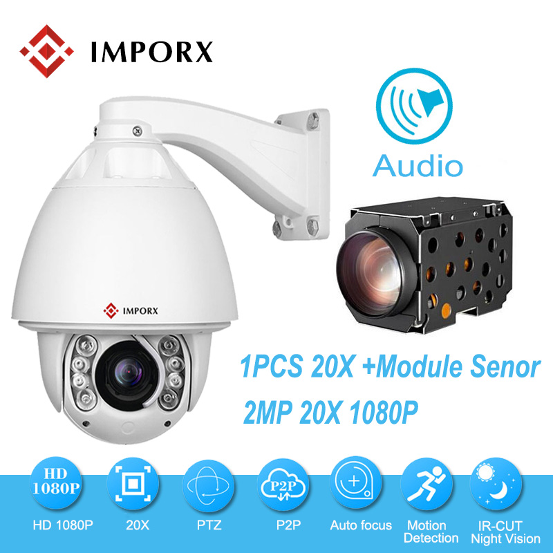 IMPORX 1080P 20X Zoom Auto Tracking PTZ IP Camera Support Audio and Alarm CCTV Security Video Network Surveillance Dome Camera