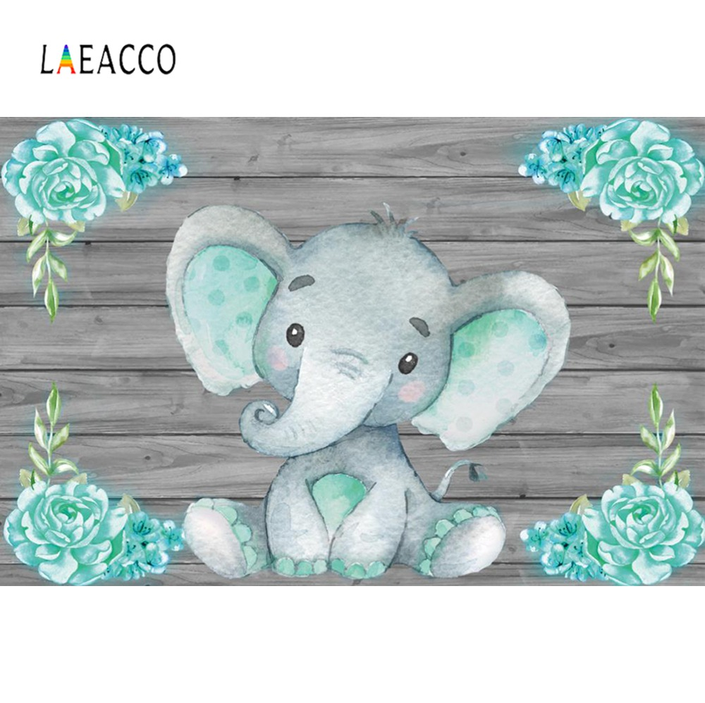 Elephant Baby Shower Backdrops For Photography Photocall Flower Party Family Shoot Personalized Poster Photographic Backgrounds