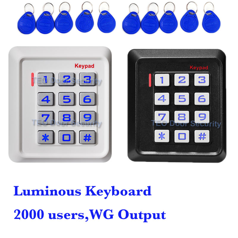 RFID Door Access Control Reader Single Door Card Pass Stand Alone Door Controller Luminous Keyboard WG Standalone Access outdoor mf 13 56mhz weigand 26 door access control rfid card reader with two led lights