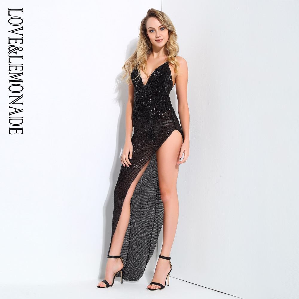 Love Lemonade Black V Neck Open The Back Side Cut Out Long Dress LM0818