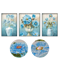 5D DIY Diamond Embroidery Flowers Diamond Painting Cross Stitch Rhinestone Mosaic Decoration Special Shaped Wall Sticker