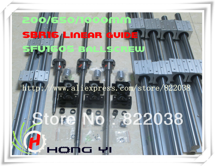 2pcs linear guide SBR16 L = 250/700/1050MM +3pcs BALLSCREW RM1605 - 200/650/1000MM + 3pcs BK12 BF12 + 3pcs Couplers 6.35*10 цены онлайн