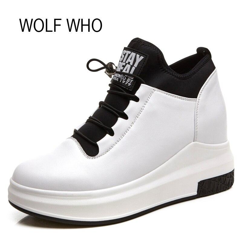 Волк, который кожа Скрытая каблук белый Кроссовки на танкетке женская обувь на платформе высокие слипоны Tenis Feminino Повседневное Basket Femme h-126