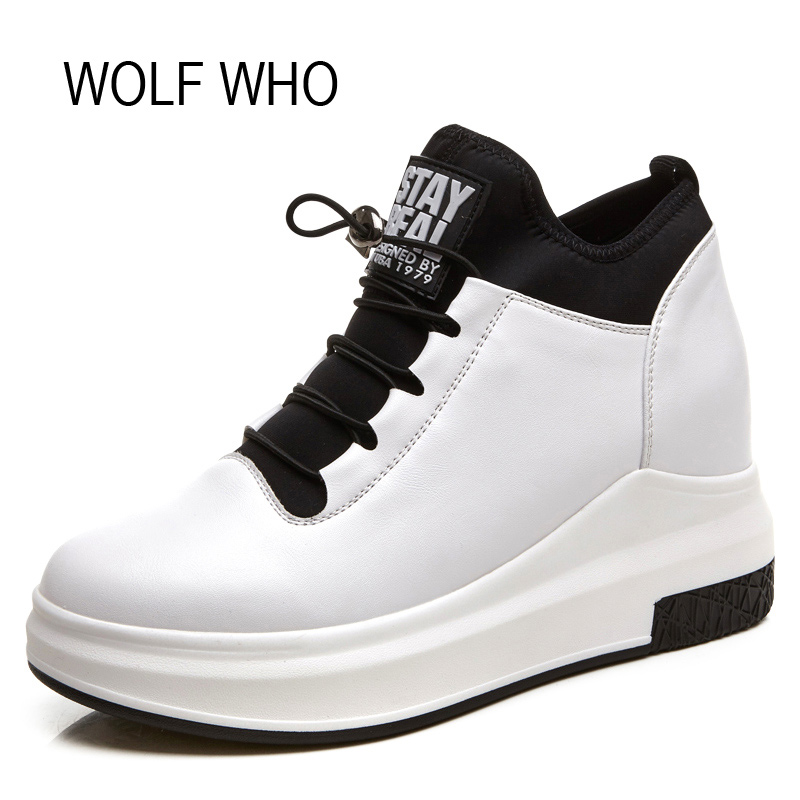 WOLF WHO Leather Hidden Heel White Wedge Sneakers Women Platform Shoes High Top Slipony Tenis Feminino Casual Basket Femme H-126 nayiduyun women genuine leather wedge high heel pumps platform creepers round toe slip on casual shoes boots wedge sneakers