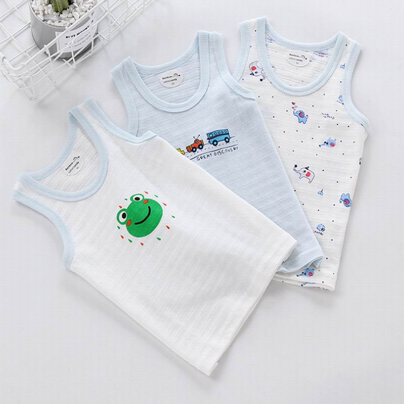 Baby Boys Girls Tanks Tops Girls Cotton Camisoles Vests Boys New Candy Color Kids Underwear Tanks Camisoles Clothes