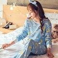Descuento 2016 Otoño y el Invierno de Algodón Muchacha de Las Mujeres Conjuntos de Pijamas de Dibujos Animados Pijamas ropa de Dormir Pijamas para mujeres Chándal manga Larga