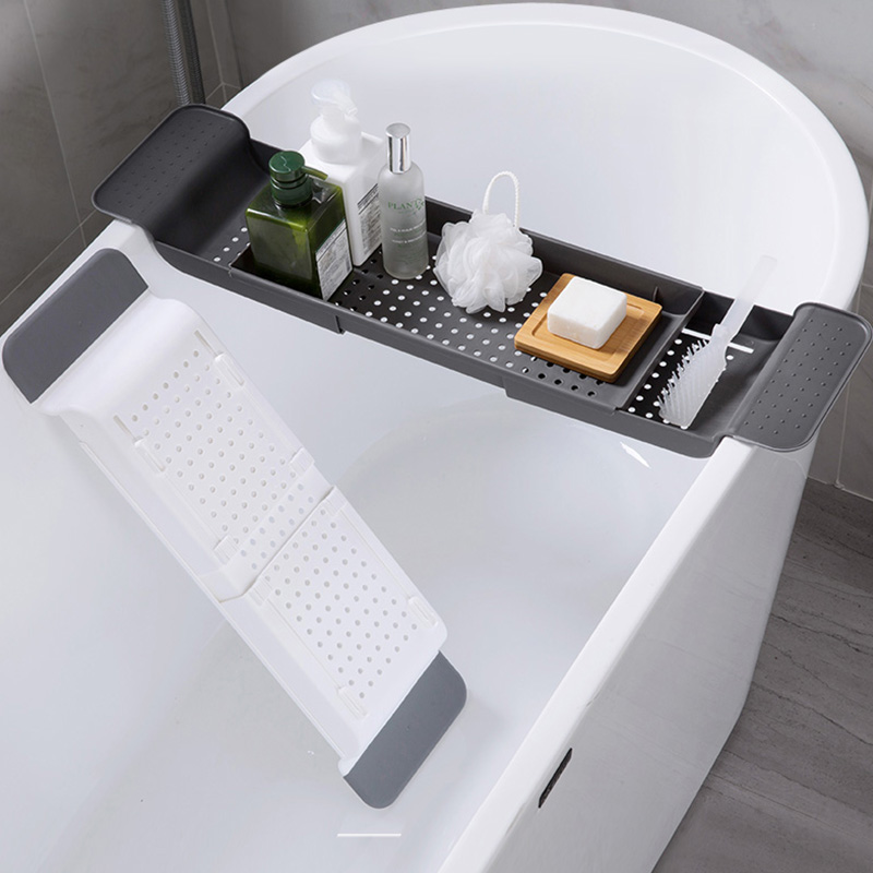 Multipurpose Plastic Adjustable Bathtub Tray Shower Wine Glass Book Holder Kitchen Tool Drain Basket Bath Kitchen