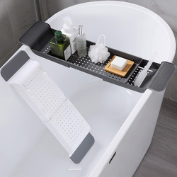 Multipurpose Plastic Adjustable Bathtub Tray Shower Wine Glass Book Holder Kitchen Tool Drain Basket Bath Kitchen Accessories