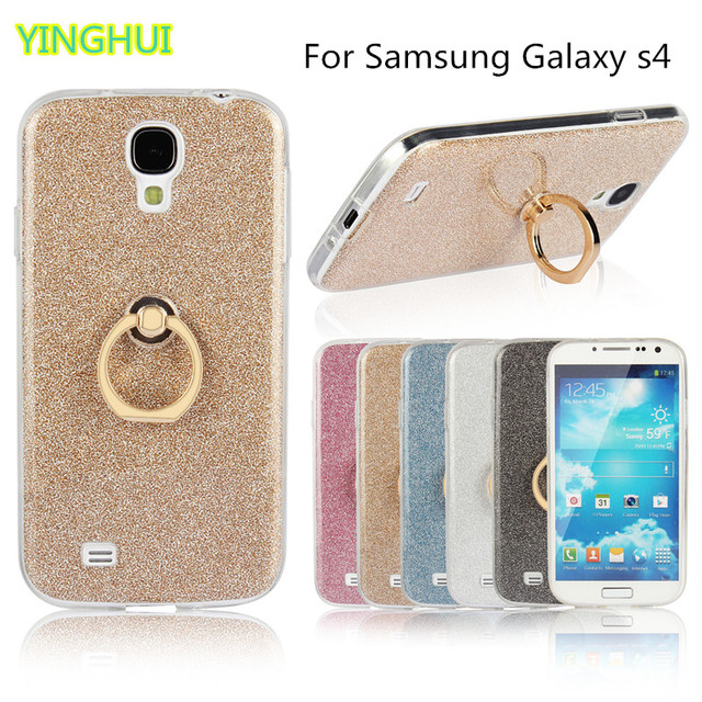 low priced be609 feab3 US $2.74 14% OFF|For Samsung Galaxy S4 Case I950 Flash powder 3D Relief  Phone Case For Samsung S4 Case tpu Silicone Soft Back Cover With Ring on ...