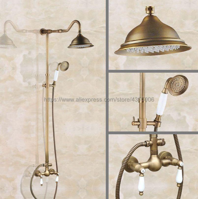 Античная латунь Ванная комната смеситель для душа с ручным Душ смеситель двойной ручки настенные Ban516