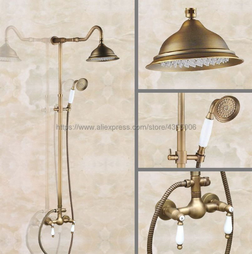 Antique Brass Bathroom Shower Faucet With Hand Shower Mixer Tap Dual Handles Wall Mounted Ban516 selective professional repair deep treatment средство глубокого восстановления поврежденных волос 1000 мл