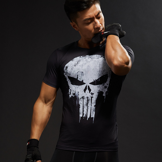 Punisher 3D Printed Men Compression Crossfit T-shirts Short Sleeve