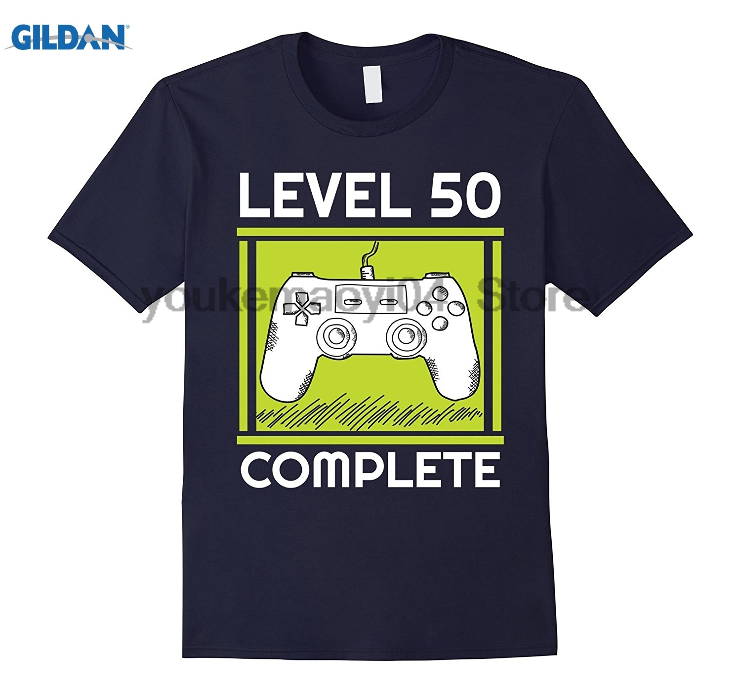 GILDAN Level 50 Complete Funny Video Games 50 Birthday Gift T-Shirt Mens personality Fashion creative pattern T-shirt