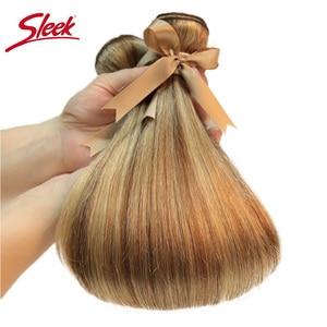 Image 5 - Sleek Remy P8/22 P27/613 P6/22 Bundles Peruvian Hair Weave 10 24 Inches Straight Human Hair Extension Blonde Hair Weave Bundle