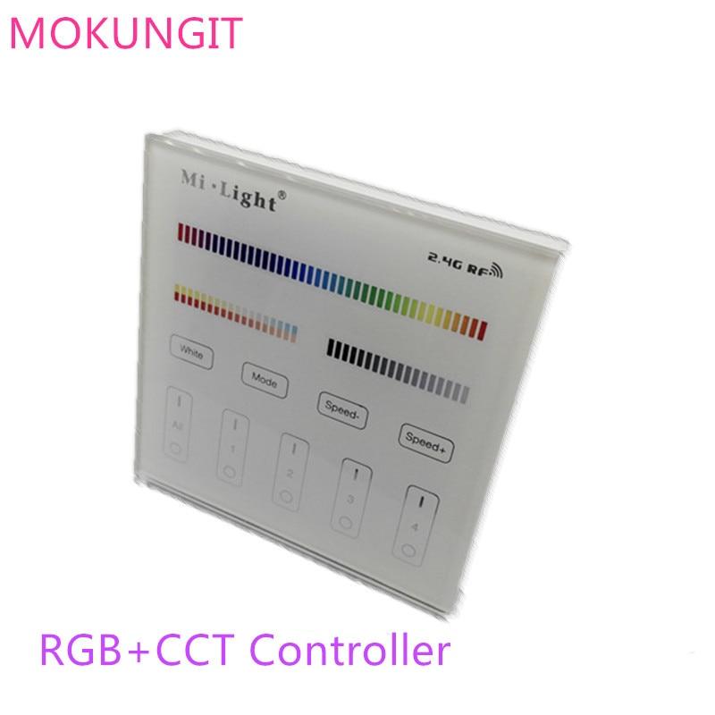 Mi.light de 2,4G, 2,4G, B4 T4, 4 zonas RGB + CCT, Panel táctil Led inteligente, controlador remoto para tira de luces led o bombilla Panel táctil B8 montado en la pared; Atenuador RF remoto FUT089 de 8 zonas; Controlador led inteligente LS2 5 en 1 para RGB + CCT, tira led Miboxer