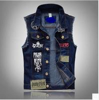 Men Pactwork Cowboy Vest Coat Single Breasted Turn Down Collar Plus Size Spring Autumn Jean Vest Plus Size Denim Waistcoat J1798