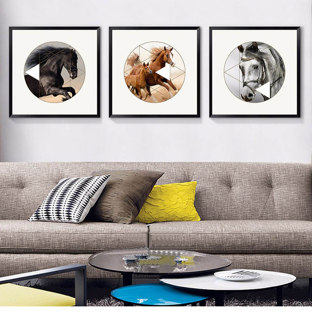 Moderne Einfache Farbe Pferd An Gallop Geometrie Dekoration Ermutigend  Malerei Für Wohnzimmer Sofa Wand Arbeitszimmer
