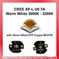 Cree XP-L U6 7A теплый белый 3000K - 3200K светодиодный излучатель может с голой светодиодный или 16 мм/20 мм медная плата-1 шт.