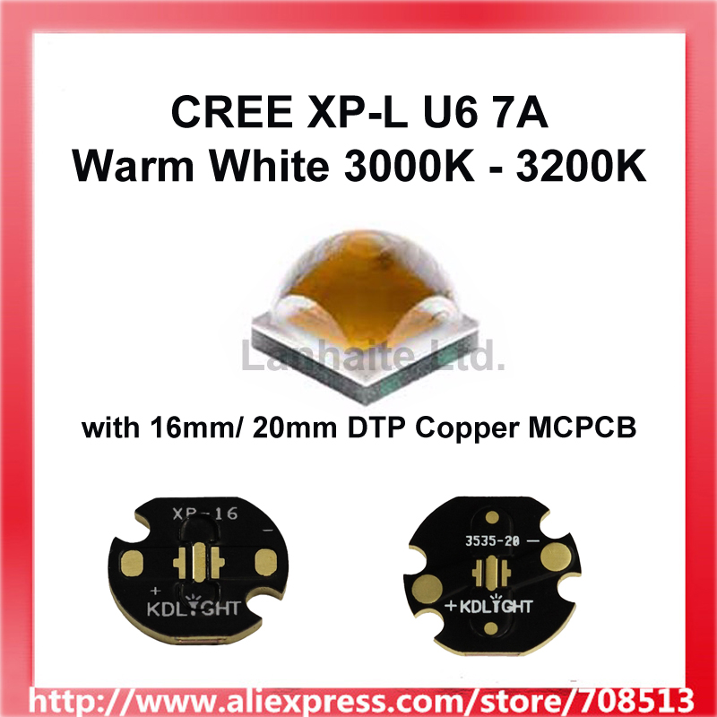 Cree XP L U6 7A Warm White 3000K   3200K LED Emitter Could With Bare LED OR 16mm / 20mm Copper Board   1 pc|led emitter|emitter led|cree led emitter - title=