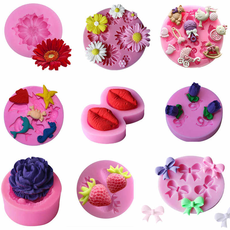 Small Bow/flower Shape Silicone Mold Fondant Chocolate Soap Moulds Candy Cake Molds Embossed Sugar Arts Flower DIY Wedding Decor