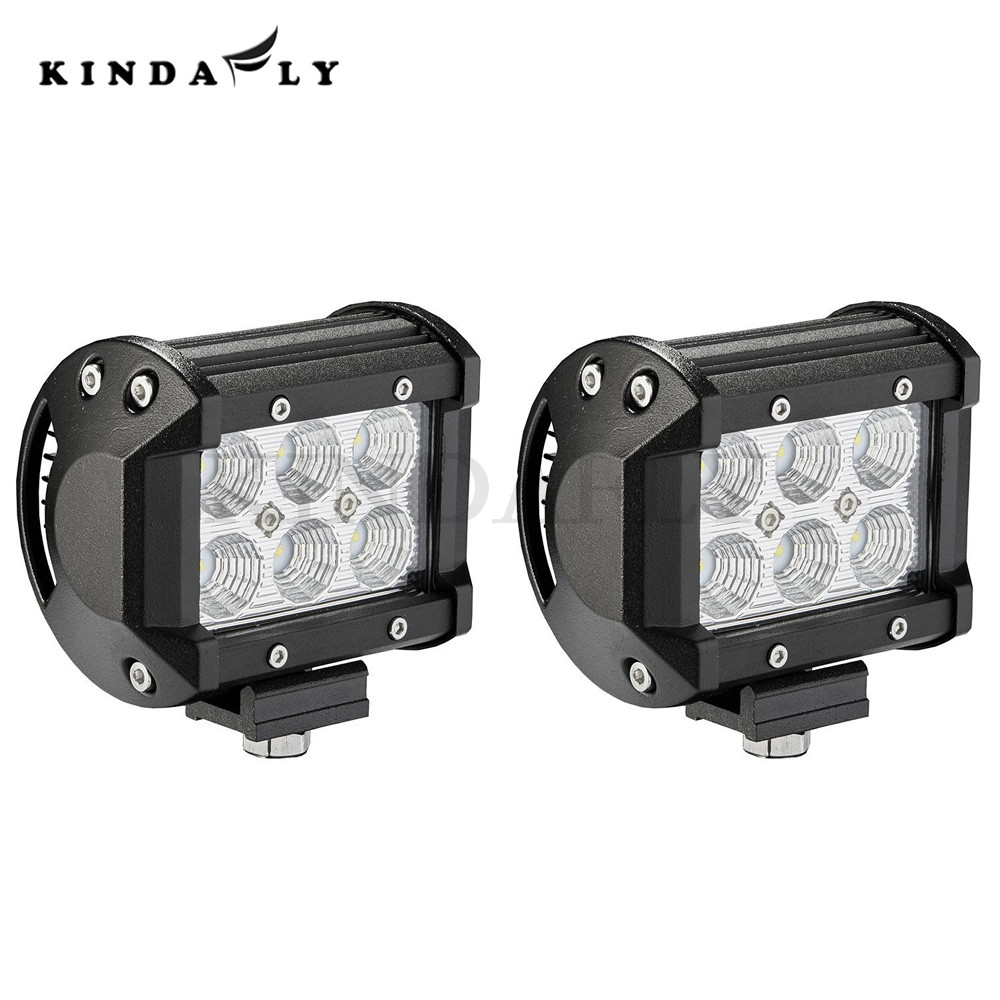 KINDAFLY 2PC Wholesale IP67 4 Inch 24W Off Road LED Light Bar Flood Beam for Jeep