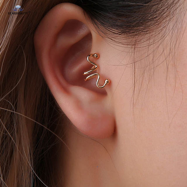 Us 0 92 53 Off 1pc Snake Head Helix Piercing Tragus Piercing Labret Lip Ring Fake Earrings Alloy Ear Cuff Clip Fake Piercing Ear Pircing In Body