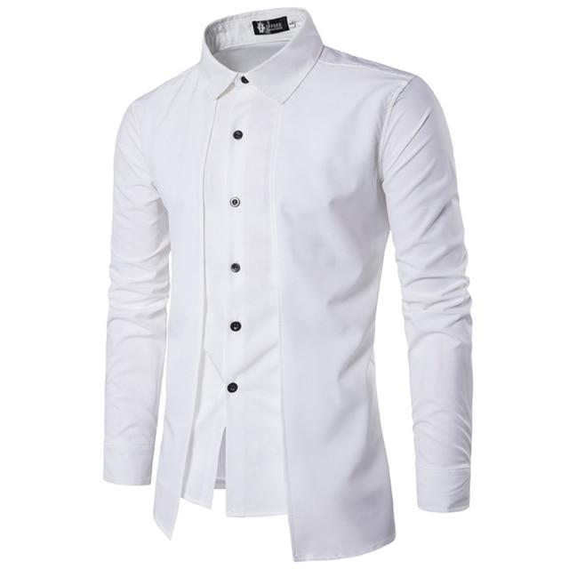 Red Black White Blue Shirt Men Long Sleeve Patchwork Tuxedo Shirts Summer Single-Breasted Irregular Dress Shirts 2017 Fake 2PCS 2