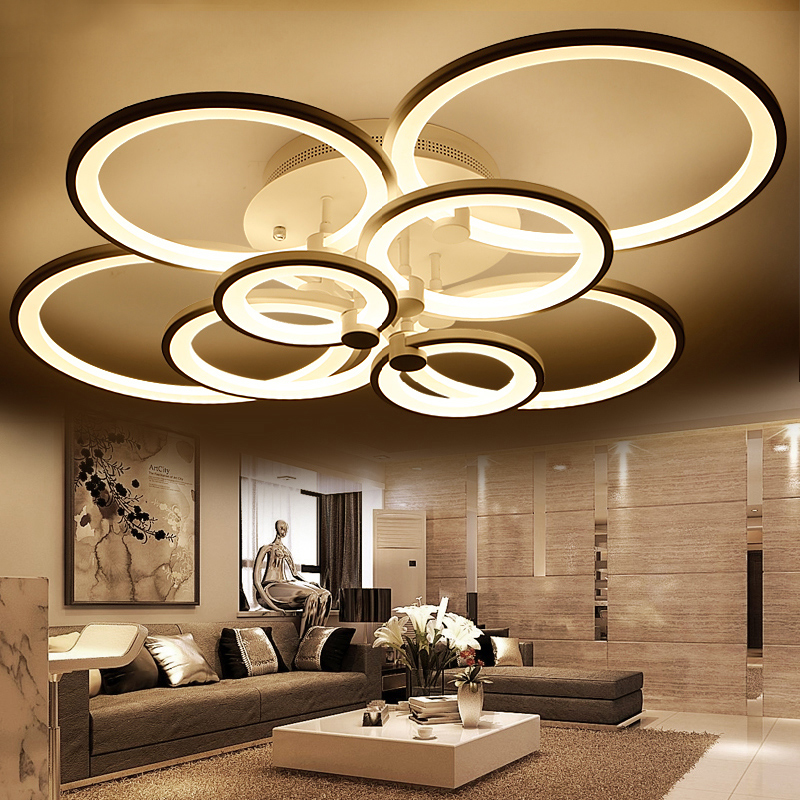 White Finished Led Circle Modern Chandelier Lights For Living Room Ceiling Lights