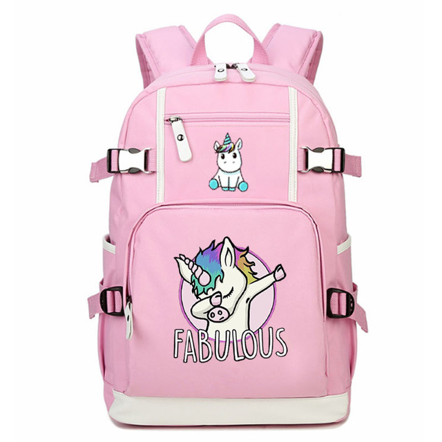 Us 37 0 Unicorn Backpack Funny Bags Dabbing School Bag Student Notebook Daily Pink Rucksack In