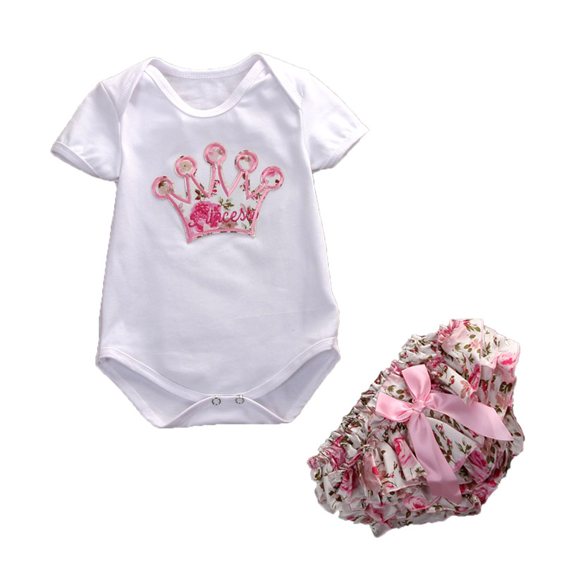 Cute Floral Newborn infant  Kids Baby Girls Cotton Romper Jumpsuit 2Pcs Playsuit Clothes Girls Outfits newborn baby backless floral jumpsuit infant girls romper sleeveless outfit