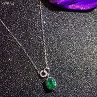 Natural green Emerald gem Necklace Natural gemstone Pendant Necklace 925 sliver trendy Lovely round girl party gift Jewelry