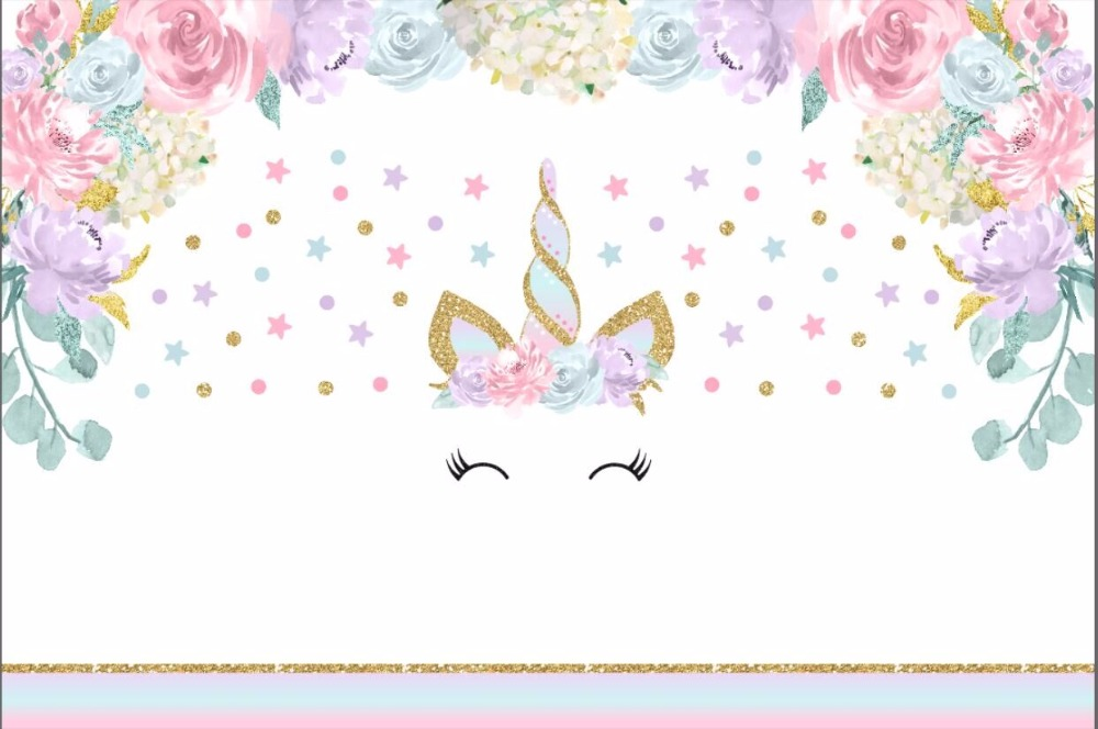 7x5ft Pink Flowers Branch Gold Unicorn Face Stars Polka