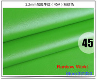 45 Green High Quality Thick 1 2mm Cow Cattle Grain PU Leather Fabric For DIY Bed