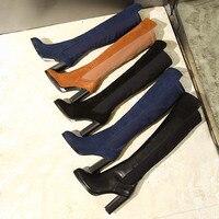 Бренд Chic Super Star взлетно посадочной полосы зимние сапоги женские короткие плюшевые ботинки высокий толстый каблук сапоги до колена длинные п