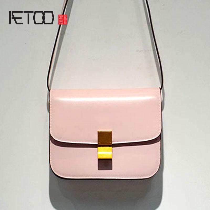 AETOO Classic leather Messenger bag women small square shoulder leather tofu 247 classic leather