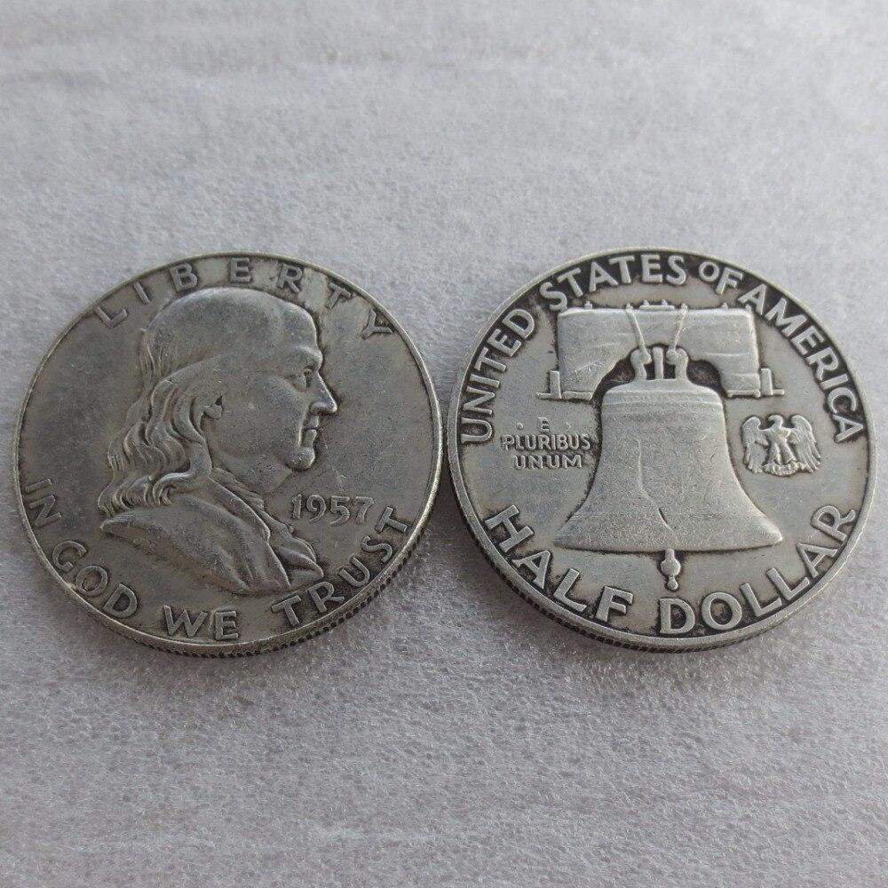90% серебра или посеребренные 1957 P D Франклин серебро полдоллара высокое качество