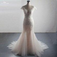 LZ310 Luxo Beading Vestido de Noiva Sexy Side Dividir Sereia Vestido Glittering Cristal Pérolas Sem Mangas Borla Vestido de Noiva