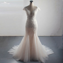 LZ310 Luxury Beading Wedding Dress Sexy Side Split Mermaid Dress Glittering Crystal Pearls Sleeveless Tassel Bridal Dress