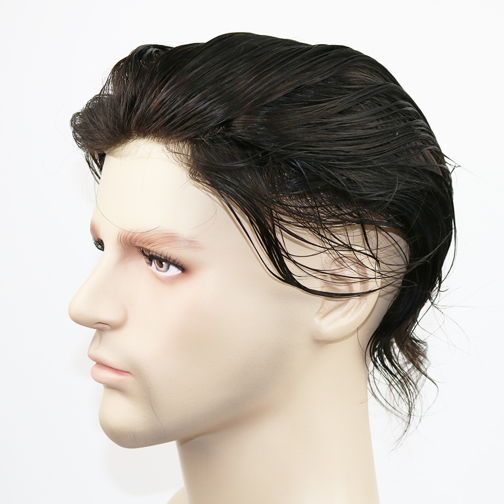 Eversilky 0.06mm Thin Skin Toupee For Men Medium Density 100% Remy Human Hair Replacement Piece Off Black Colour #1B
