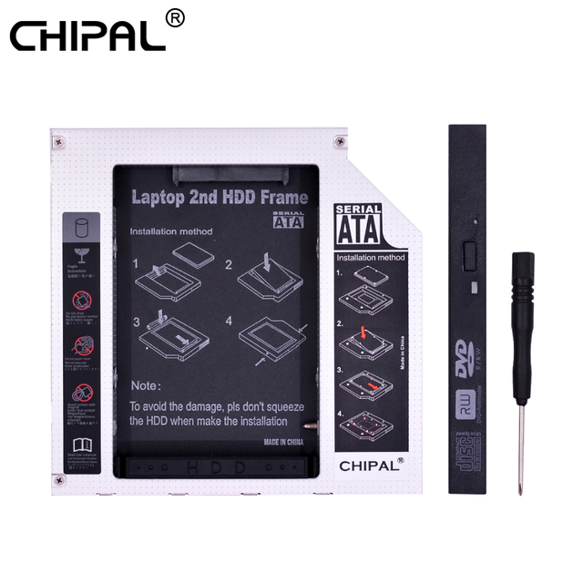 "CHIPAL Chip PATA IDE a SATA 3,0 12,7mm 2nd HDD Caddy para 2,5 ""Disco Duro SSD caja para ordenador portátil DVD-ROM CD ROM OptiBay"