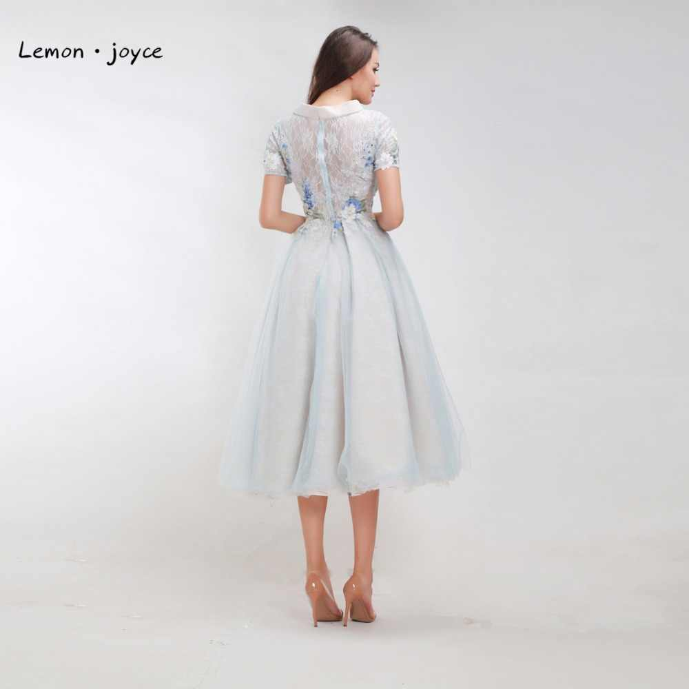 Vintage Prom Dresses with Short Sleeves 2019 Elegant Appliques See-Through  Tea-Length Lace Tulle A-line Evening Dress Plus Size