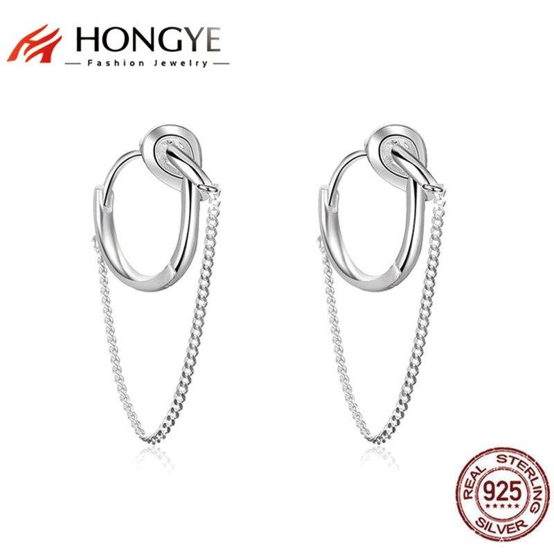 HONGYE Einzigartiger trendiger Unisex-Schmuck 925 Silberkette Quaste Runde Ring Quaste Ohrringe für Frauen Herren Schmuck Night Club Show