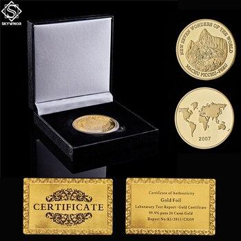 2007 Nuevo Mundo siete maravillas Perú Cuzco Machu Picchu Inca imperio chapado en oro Moneda de medallón conmemorativo con caja de exhibición