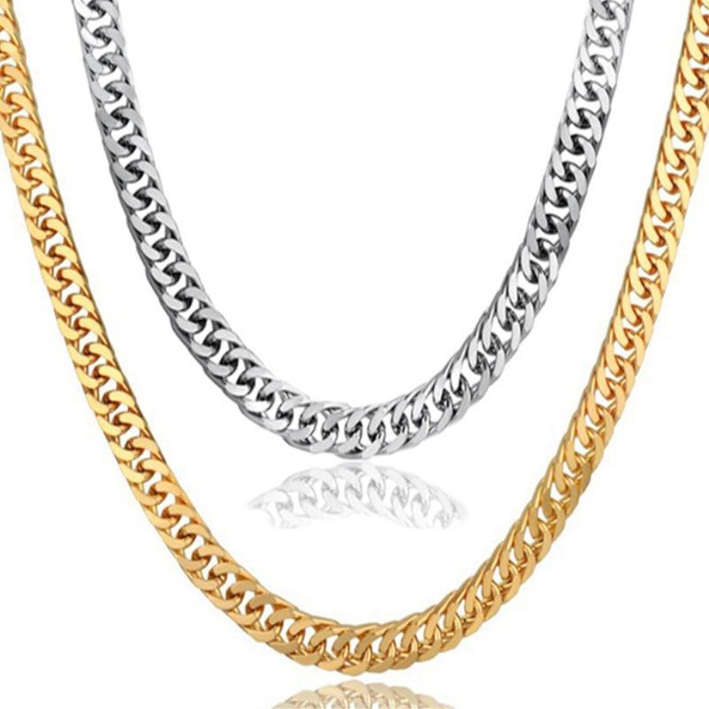 Goldkette Für Männer Edelstahl Gold Farbe Kubanische Gliederkette Halsketten Männlichen Hip Hop Schmuck Großhandel Ketting Dropshipping