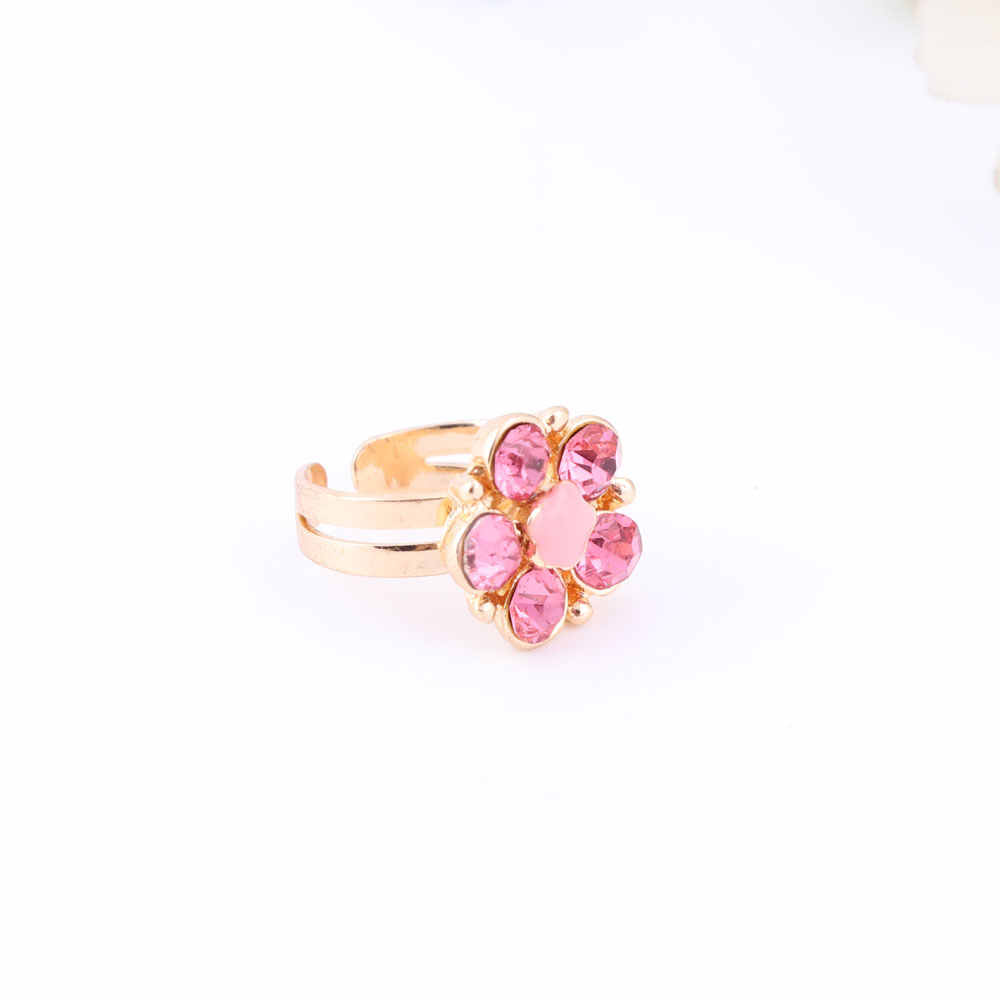 RED Color Plum blossom costume jewelry for kids girls gold color Children's Earring Necklace Bracelet Ring Set