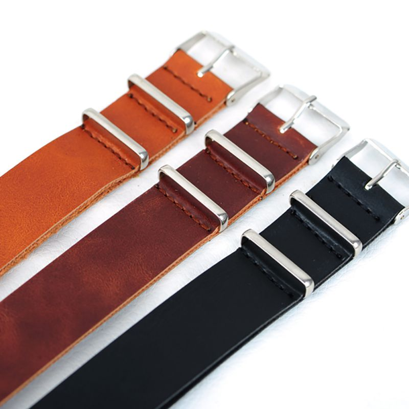 Men Genuine Leather Military Watch Strap (3 Rings) Design Band stainless steel Buckle Watchband 18-22mm