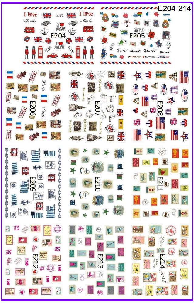11 PACKS / LOT 3D  SIMULATION STAMP SELF-ADHESIVE NAIL TATTOOS STICKER NATIONAL FLAG STAMP POST E204-214