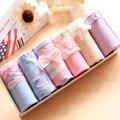 6 pçs/lote mulheres underwear calcinhas das meninas bonitos mulheres cuecas de algodão puro cuecas rendas arco cor misturada definir embalagem caixa de presente 6-18